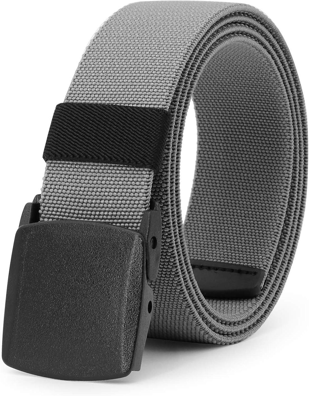 Cintur/ón el/ástico para hombre para deportes al aire libre transpirable hebilla de pl/ástico JasGood de 3,8 cm con hebilla de pl/ástico sin n/íquel