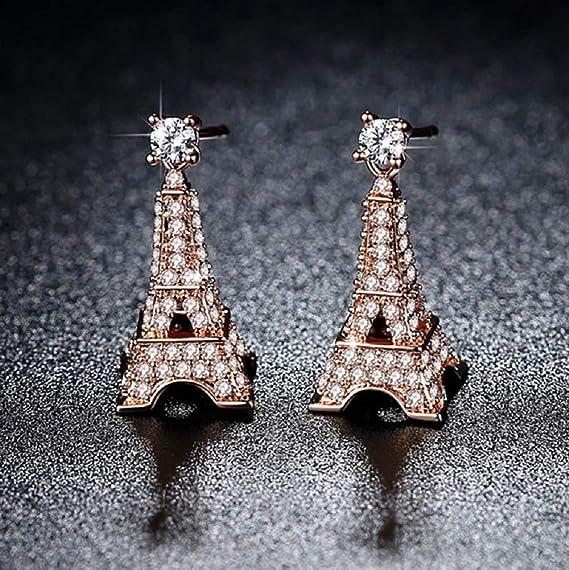 Love Paris Eiffel Tower Crystal Stud Dangle Earrings Parisian