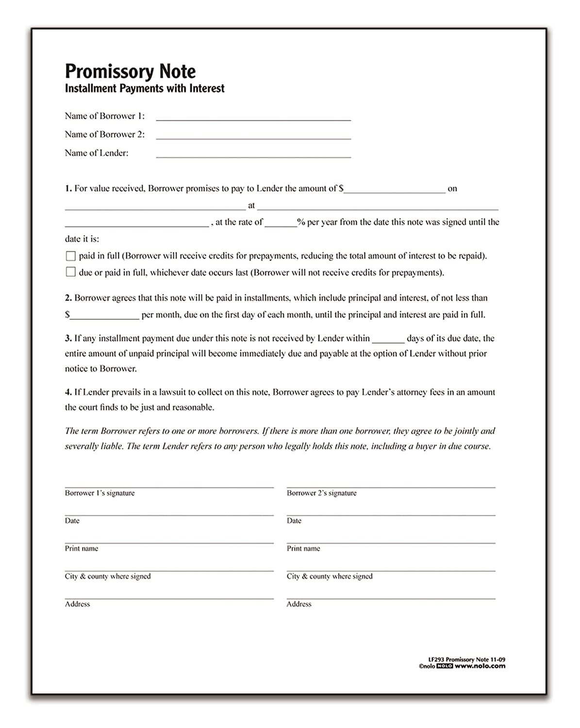 Amazon Adams Promissory Note Forms And Instructions Lf293