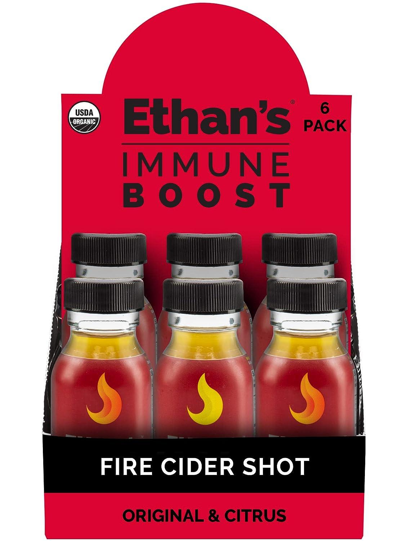 Ethan's Immune Boost Shot, Includes Original Fire Cider & Citrus Fire Cider Formula, Immune Support, Organic Apple Cider Vinegar Shots, ACV Supplement, Digestion Supplement (Variety 6pk of 2oz Shots)