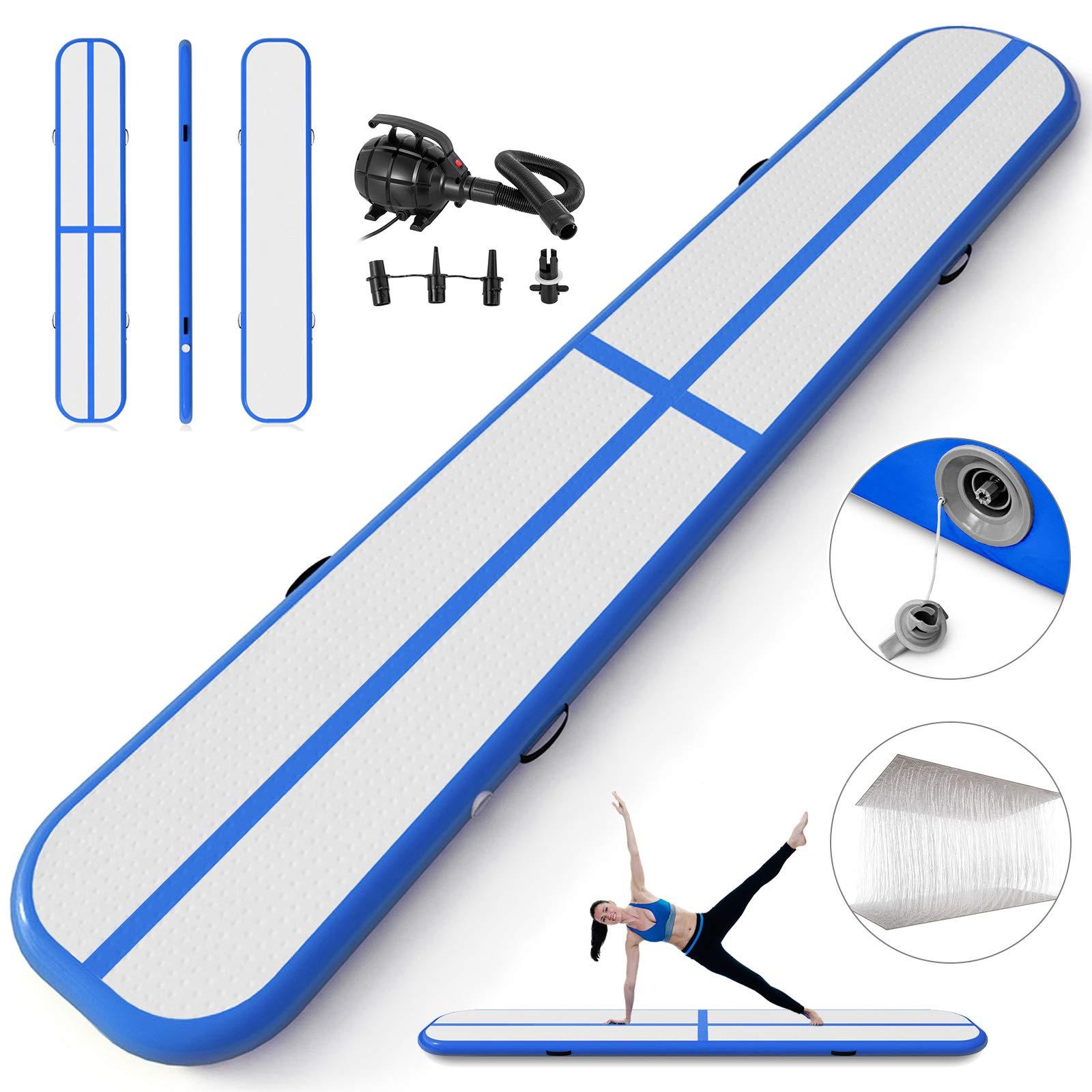 Happybuy Inflatable Gymnastics Tumbling Mat Air Tumbling Track Air Floor Mat for Home Use/Cheerleading/Beach/Park (Blue, 5X0.4X0.1M)