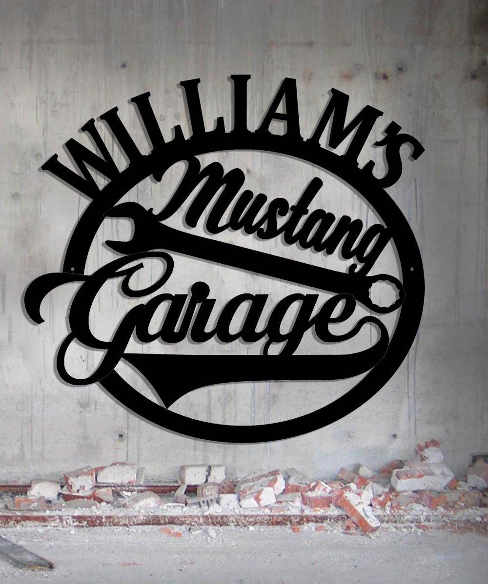 Mustang Hot Rod Garage - Personalized Workshop Sign - Metal Wall Art- Customize It!- Metal Wall Art Man Cave Grandpa's Dad's Or Custom Name