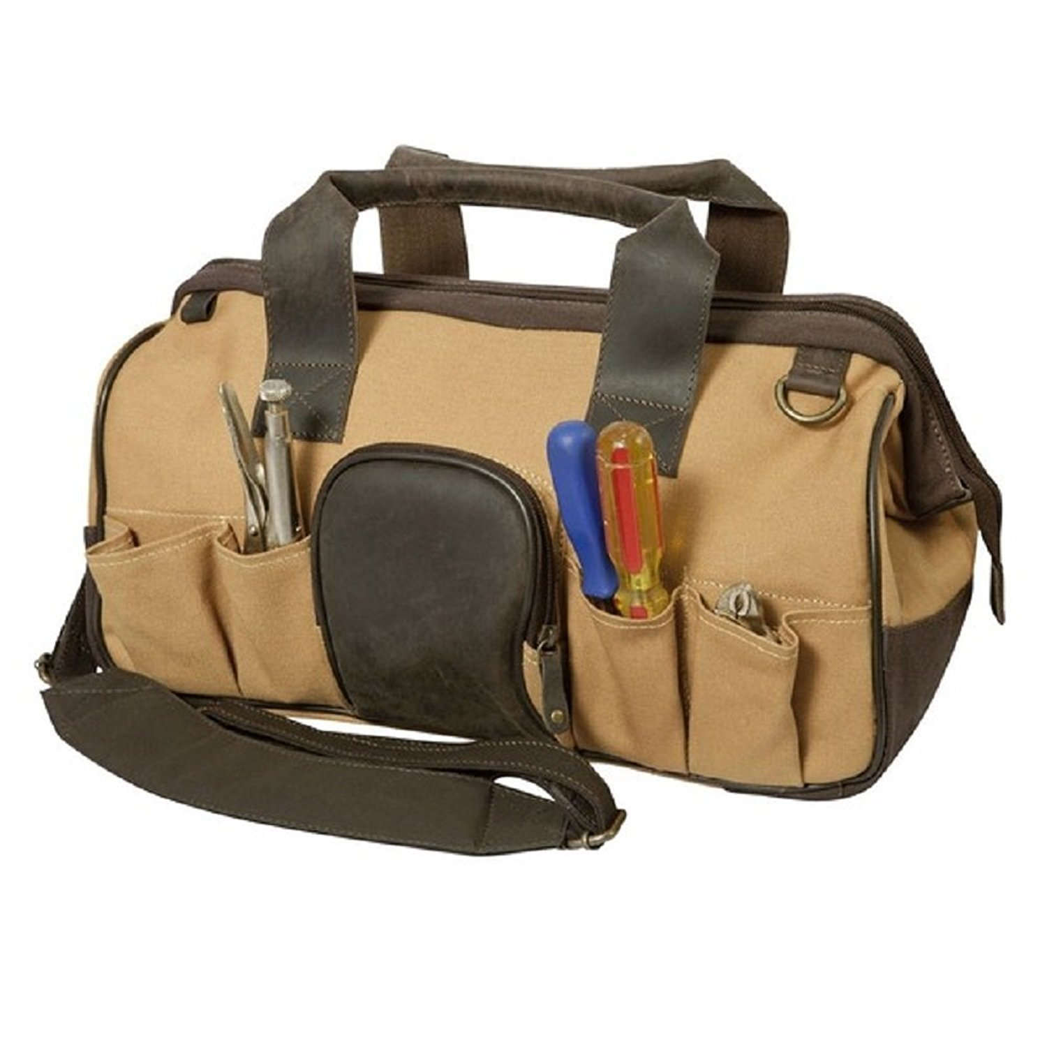 Outback Canvas Leather Open Mouth Tool Bag Contractor Briefcase by DSOS (Image #1)