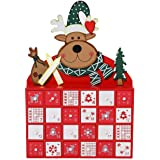 Sunnyglade Christmas Wooden Advent Calendar with Drawers 24 Day Countdown Cute Holiday Decoration (Red)