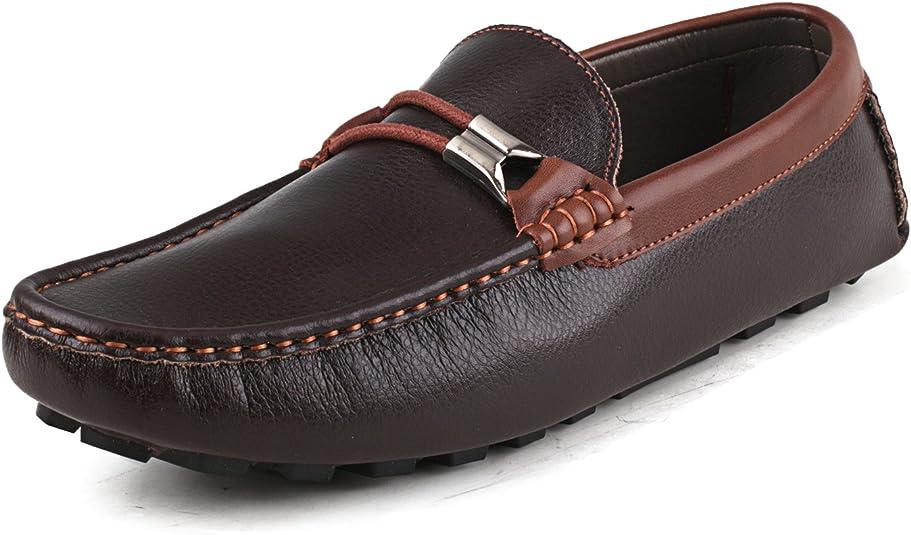 Shenduo Zapatos Vestir - Mocasines de Piel sin Cordones Antideslizantes para Hombre D3358 Marrón 44: Amazon.es: Zapatos y complementos