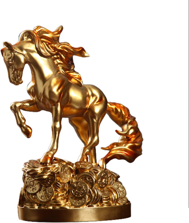 Huachaoxiang Escultura Figura, Escultura Estatuas De Animales Y La Escultura Esculturas De Resina Caballo Craft Adornos De TV Estudio del Gabinete Decoración Animal Regalo Creativo Estatua,Oro