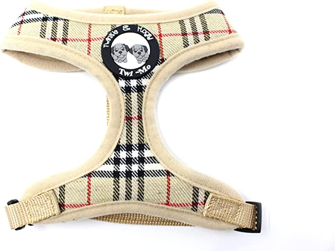 Twinkle & Mogly - Dog harness with chequered pattern chest harness for small dog breeds, cute in beige or pink - beige S: Amazon.de