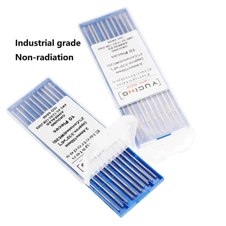 SenTECH TIG Soudage Electrodes de Tungst/ène WP 6 x 150 mm de 10 pi/èces par paquet 1 vert