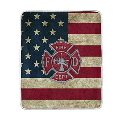 "poeticcity 1PC Blanket, Firefighter Fire DEPT. Logo Rescue Plush Throws Siesta Camping 50""X60"" Travel Fleece Blankets Quilt Carpet Lightweight Soft Bed SOFE Couch: Home & Kitchen"