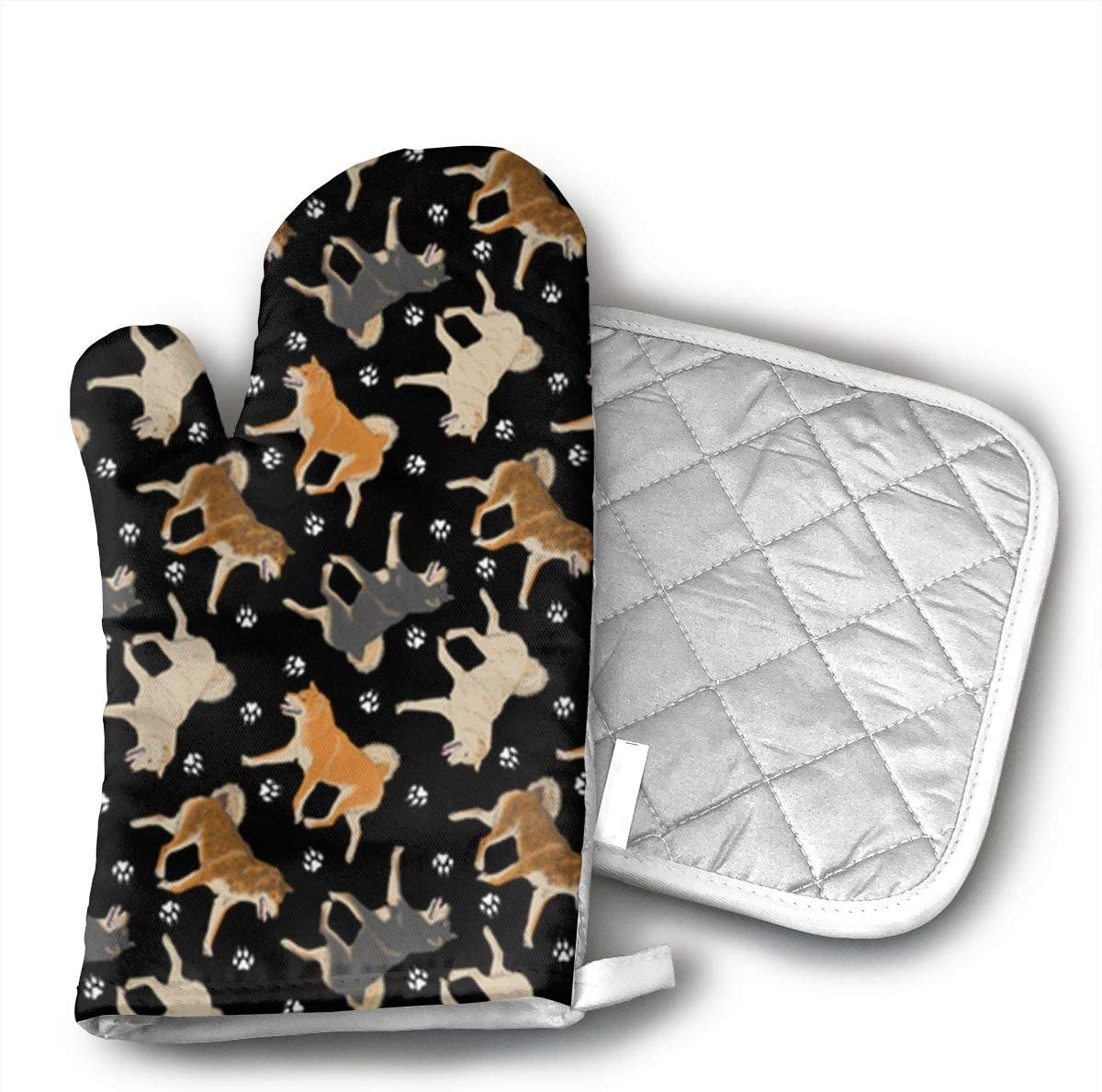 CHWEYAQ ZVNQYGFGA69 Shiba Inu Fabric in Black Oven Gloves, Smart Home, Long, Mittens, Heat Resistant, Extra Thick, Quilted