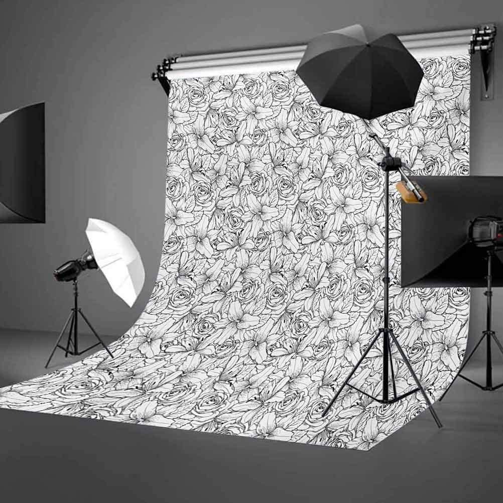 Grey and White 6.5x10 FT Photography Backdrop Rose Flowers Poppy Petals Fragrance Essence Botanical Beauty Monochrome Background for Party Home Decor Outdoorsy Theme Vinyl Shoot Props Black White