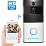 [Updated Version] Wireless Video Doorbell, Szsinocam Wireless Doorbell Door Chime 720P HD With Real-Time ,two-way Audio, 166°Wide Angle, PIR motion detection, and Night Vision For Home Office