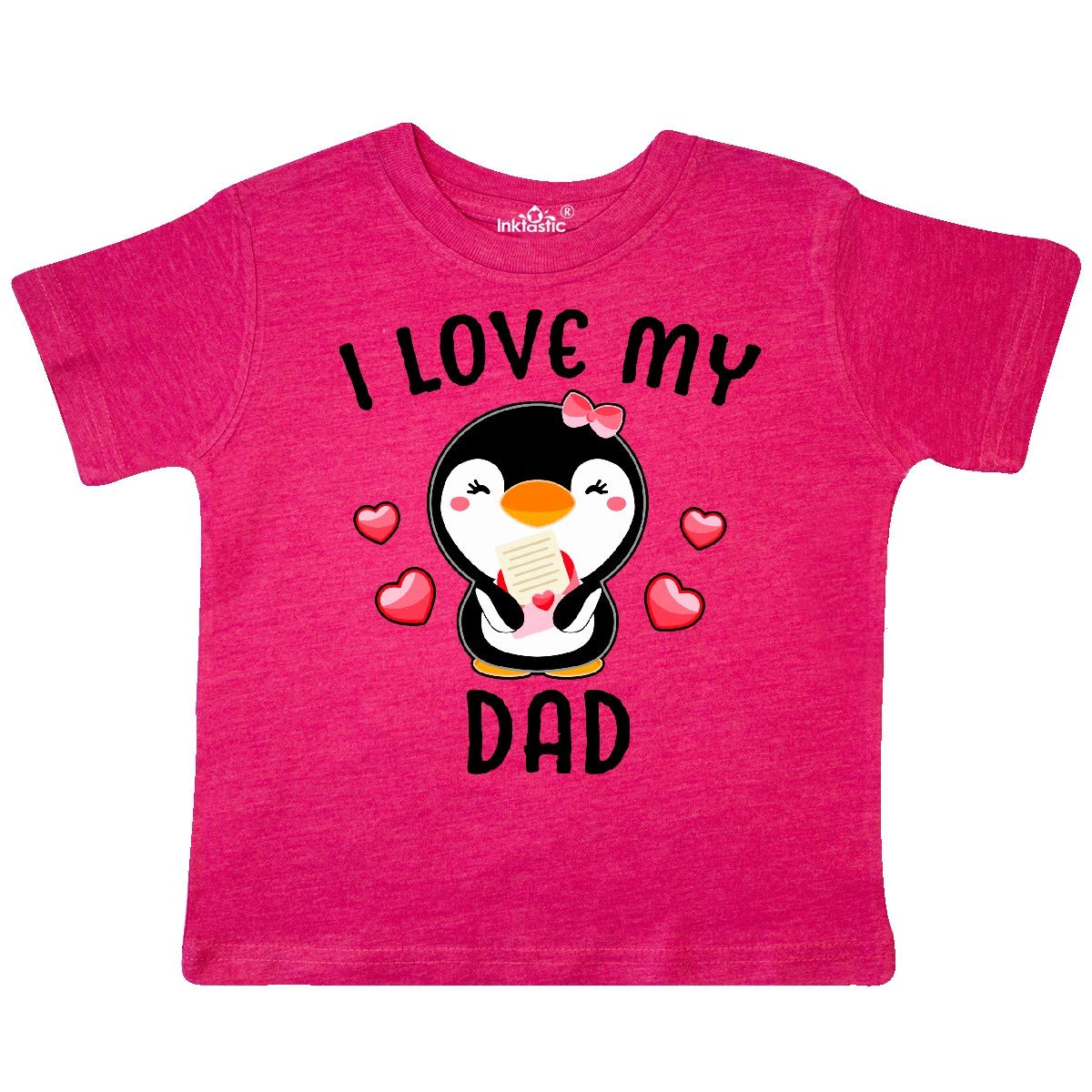 inktastic I Love My Dad with Cute Penguin and Hearts Toddler T-Shirt