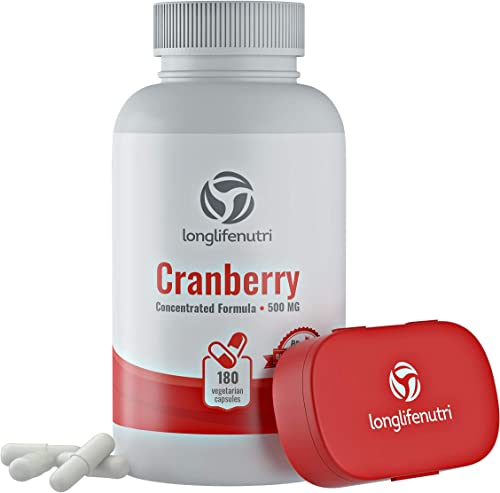 Cranberry 500mg 180 Vegetarian Capsules Urinary Tract Infection UTI Pure Fruit Concentrate Extract 25,000 mg Plus Vitamin C E Herbal Bladder Supplement Potent Natural Fresh Pill Complex