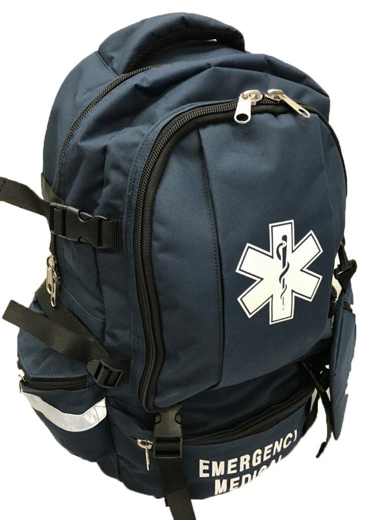 LINE2design EMS, EMT Emergency First Responder Deluxe First Aid Medical Trauma Backpack - Navy Blue