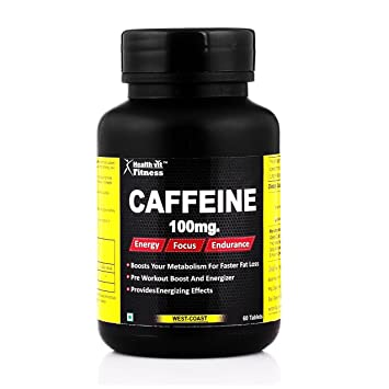 Healthvit Fitness Caffeine 100 mg - 60 Tablets (Energy, Focus & Endurance) Sports Supplements at amazon