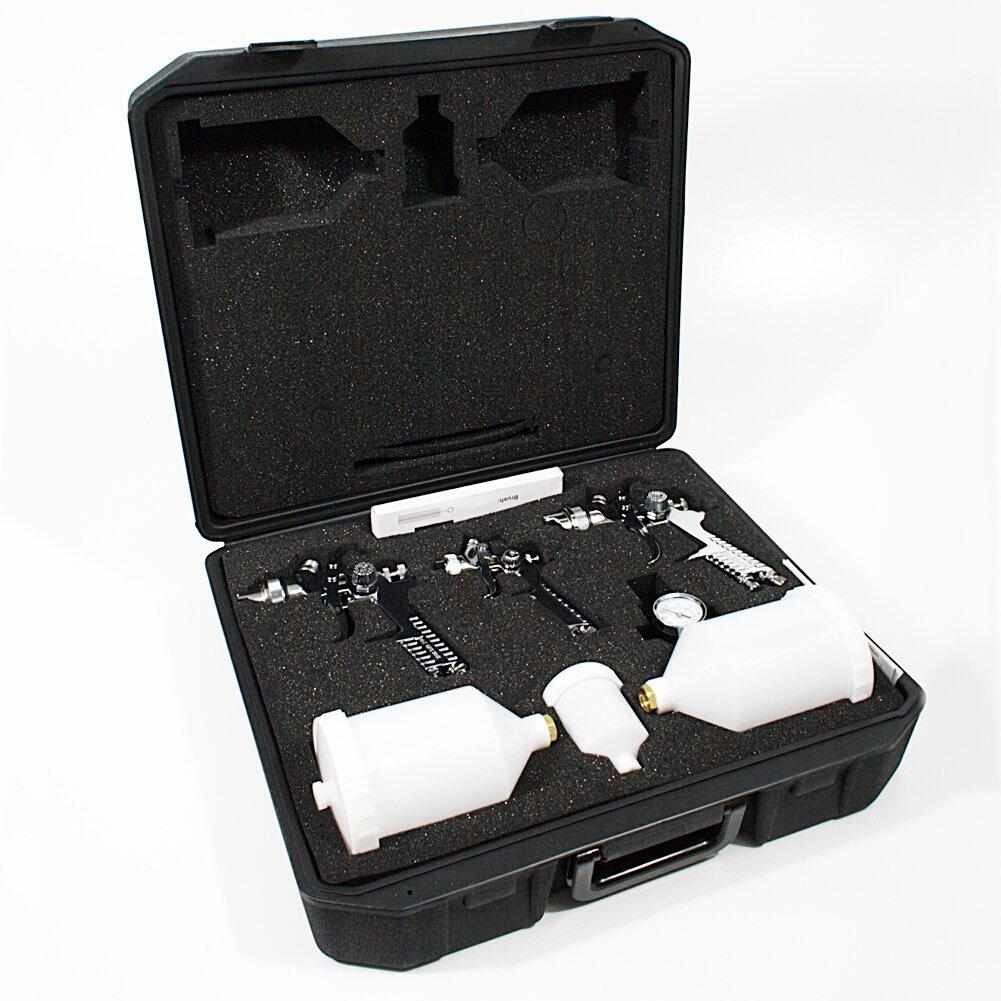 HVLP 3 Lackierpistole Spritzpistole im Koffer Set mit Zubehö r Dü sen 1.7/1.4/0.8mm Paplok