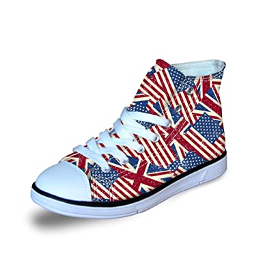 0b0457d1446a FOR U DESIGNS Kids High Top Canvas Shoes for Girls Classic US Flag Print  Red Size