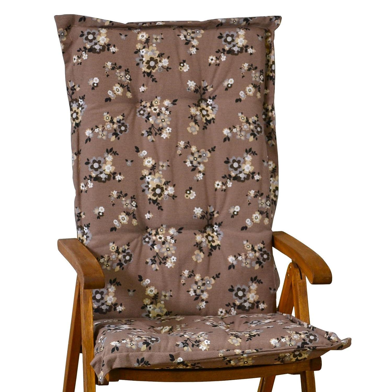 6 Auflagen für Hochlehner Madison Marianne flower taupe geblümt ohne Stuhl