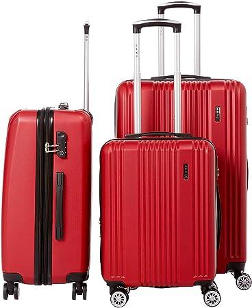 LYS Set de 3 Valises Rouge Rigide ABS 4 Roues Doubl/ées 55-65-76cm