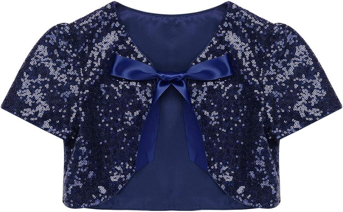 Aislor Kids Big Girls Shiny Sequined Bolero Cardigan Shrug Short Jacket Flower Girl Wedding Bridesmaid Cover Up