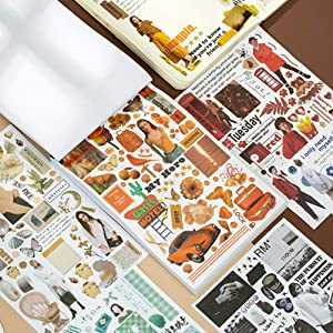 Vintage Washi Paper Sticker Set 50 Sheets Modern Style Old Fashion Look Decorative Adhesive Stickers for Scrapbook Planners Bullet Journals Personalize Laptops Skateboards Luggage (A)