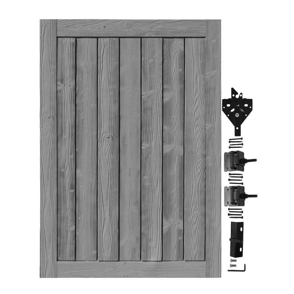 SimTek 4 ft. W x 6 ft. H Ashland Nantucket Gray Composite Privacy Fence Gate