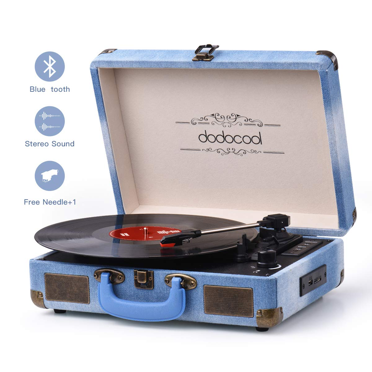 Vinyl Record Player, dodocool Vintage Turntable 3-Speed with Blue Tooth, Built in 2 Stereo Speakers, Vinyl to MP3 Converting/ RCA Line Out/ AUX / USB/ SD Input - Jean Style by dodocool
