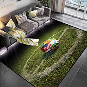 """Area Rugs Print Large Carpet Sports,Soccer Ball on a Field Flags Office Chair mat for Carpet for Living Dining Dorm Playing Room Bedroom 5'7""""x8'6"""""""