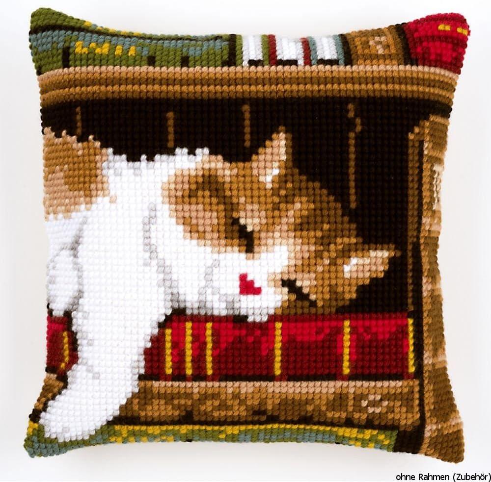 Vervaco - Kit de Punto de Cruz para cojín (40 x 40 cm, diseño de un Gato sobre una estantería de Libros, Tela Impresa)