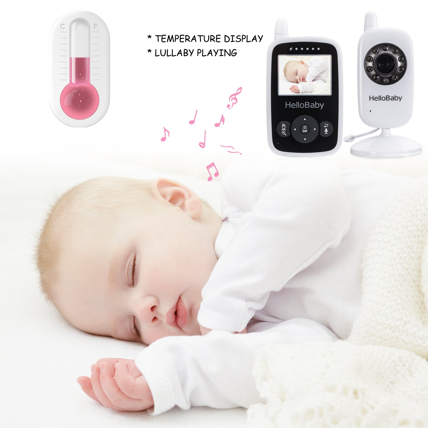 Hello Baby Wireless Video Baby Monitor with Digital Camera HB24, Night Vision Temperature Monitoring & 2 Way Talkback System, White by HelloBaby (Image #9)