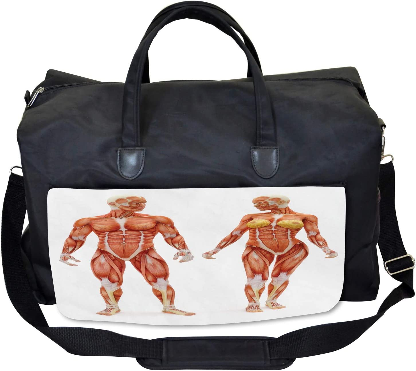 Male Human Body Large Weekender Carry-on Ambesonne Anatomy Gym Bag