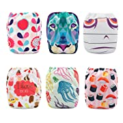 Babygoal Baby Girl Cloth Diapers,One Size Reusable Adjustable Washable Pocket Nappy for Girl, 6pcs Diapers+6pcs Microfiber Inserts+4pcs Bamboo Inserts 6FG04