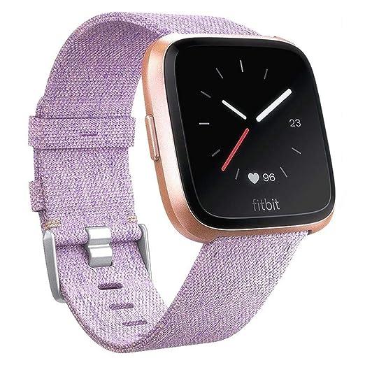 HOTSO Pulsera Intercambiable para Fitbit Versa, Correa de Tela Transpirable para Mujer, Hombre: Amazon.es: Relojes