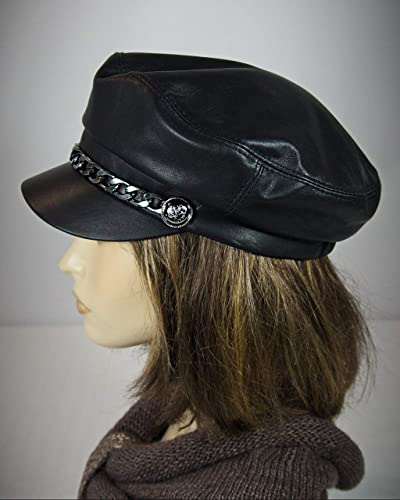a856a84415505f Amazon.com: Cape Breton, Captain Hat, Leather Cap, Baker Boy Cap ...
