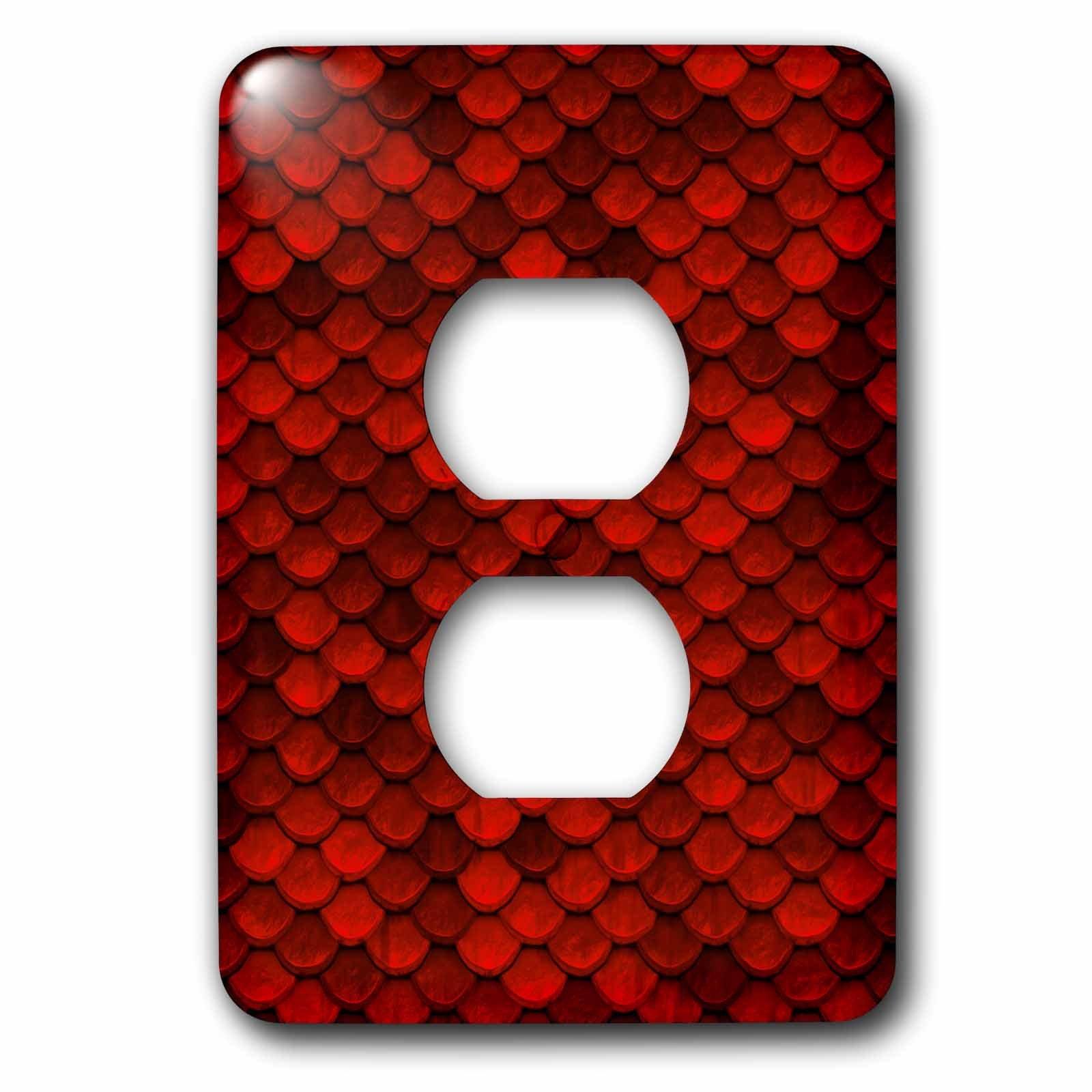 3dRose Uta Naumann Faux Glitter Pattern - Sparkling Red Luxury Elegant Mermaid Scales Glitter Effect Artprint - Light Switch Covers - 2 plug outlet cover (lsp_267057_6)