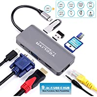 USB C Hub, Yeeliya 9-in-1 USB Type C Hub Adapter with Gigabit Ethernet Port,4K HDMI/VGA Port,2 USB 3.0 Ports, SD&Micro SD Card, 3.5mm Audio Port, PD Charging for MacBook/Pro and Other Type C Laptops
