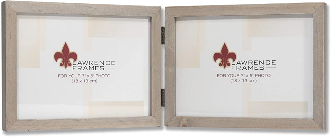 Lawrence Frames 5x7 Hinged Double Horizontal Gray Wood Gallery Collection Picture Frame 7x5 Amazon Com