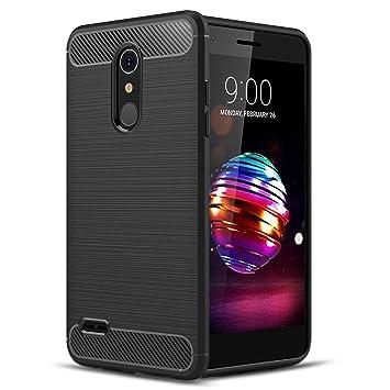 Voviqi Funda LG K11, Silicona Fundas para LG K11 Carcasa LG K11 Fibra de Carbono Funda Case - Negro