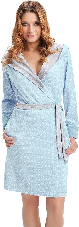 Vestaglia Corta da Donna con Tasche Cappuccio e Cintura