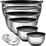 Mixing Bowls Set of 6, Premium Stainless Steel Nesting Bowls with Airtight Lids , Size 5, 4.5, 3, 2.5, 1.5,1.2 QT, 3 Grater A