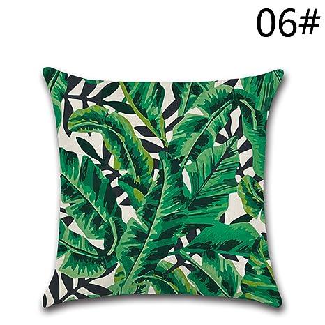 YY Club Funda para Cojines, diseño de Hojas Verdes … (16)
