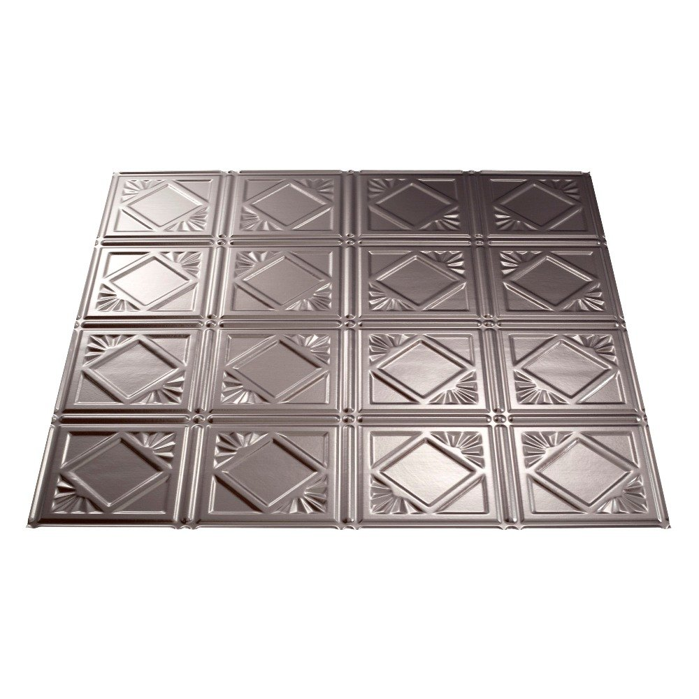 Fasade Easy Installation Traditional 4 Brushed Nickel Lay In Ceiling Tile / Ceiling Panel (2' x 2' Tile) by FASÄDE (Image #2)