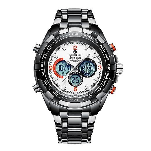 Globenfeld Super Sport - Relojes de diseño para hombre - Reloj deportivo blanco - Edición limitada - Resistente a arañazos y resistente al agua hasta 30m: ...