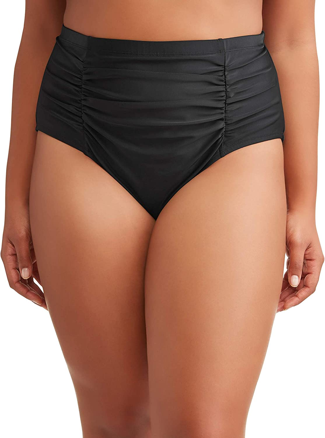 Terra & Sky Women's Plus Size Solid Black Ruched Swimsuit High Waist Bottom