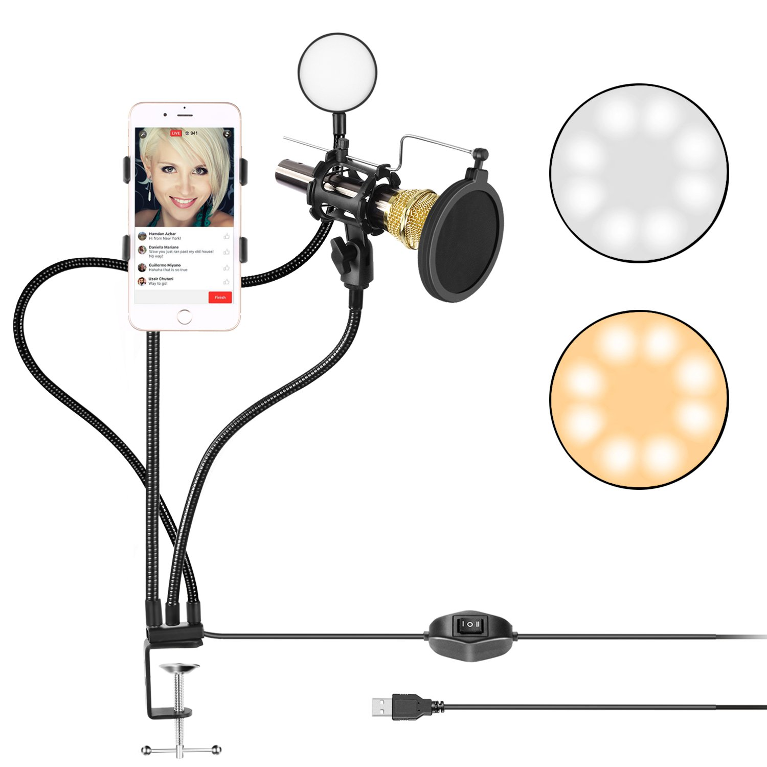 Neewer Clamp-on Live Broadcast USB LED Selfie Ring Light with Cellphone and Microphone Holder for Youtube Video,2-Light Mode,360 Degree Rotating Flexible Arm for iPhone,Samsung(Mic,Phone NOT Included) by Neewer