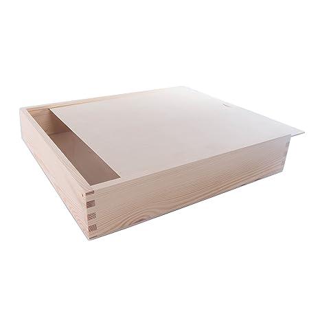 SEARCHBOX Gran Caja de Madera con Tapa Deslizante/Almacenamiento ...