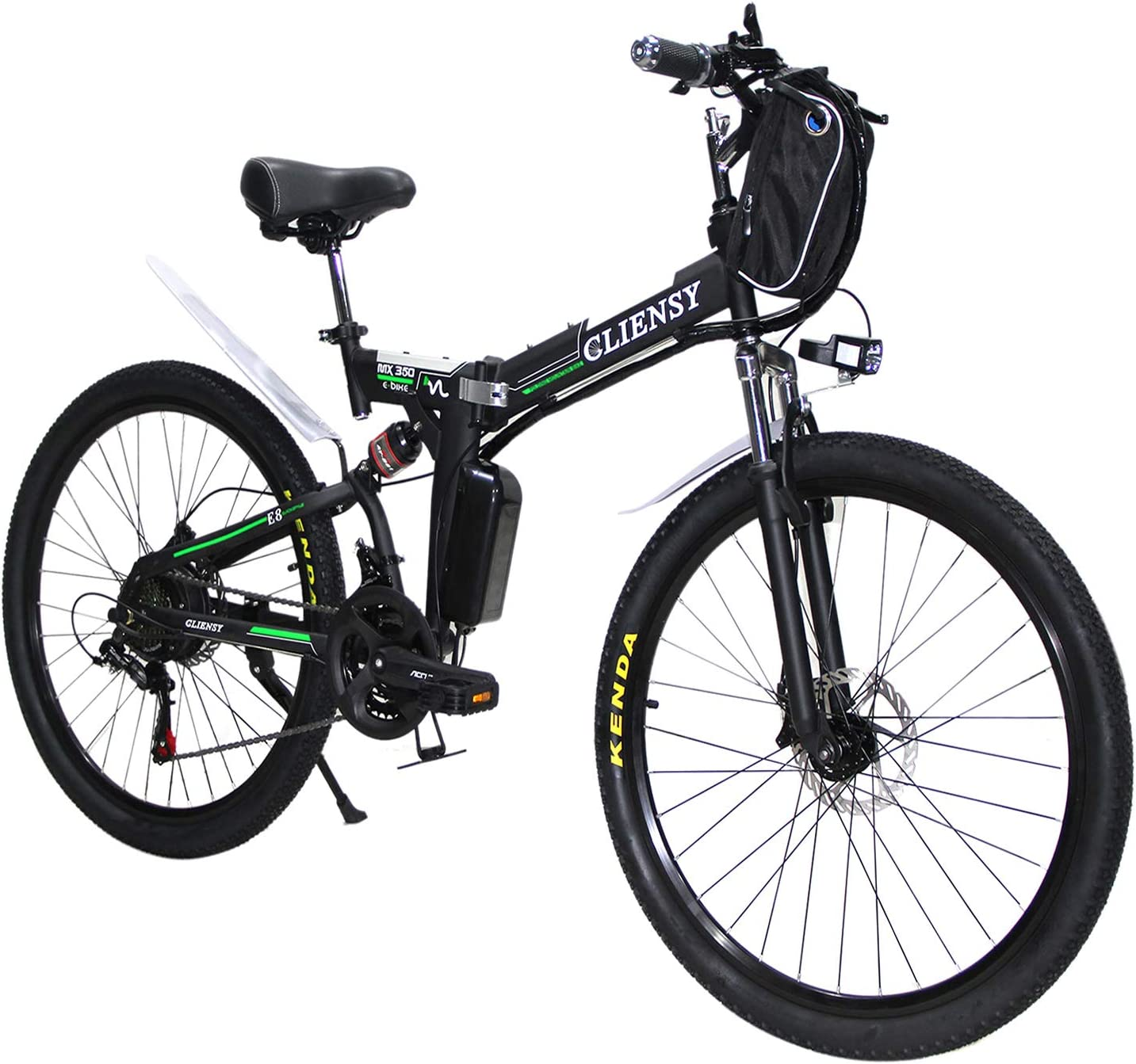 CLIENSY 26 Inch Electric Bike, 350W Folding E-Bike with Removable 36V 8AH Lithium Battery for Adults, 21 Speed Shifter Green