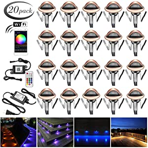 "Smart Wi-Fi LED Decking Lights Kit, FVTLED Pack of 20 Φ1.38"" Wireless Smart Phone Controlled Multicolored Outdoor Waterproof LED Recessed Light Work with Alexa Echo Google Home, Bronze"