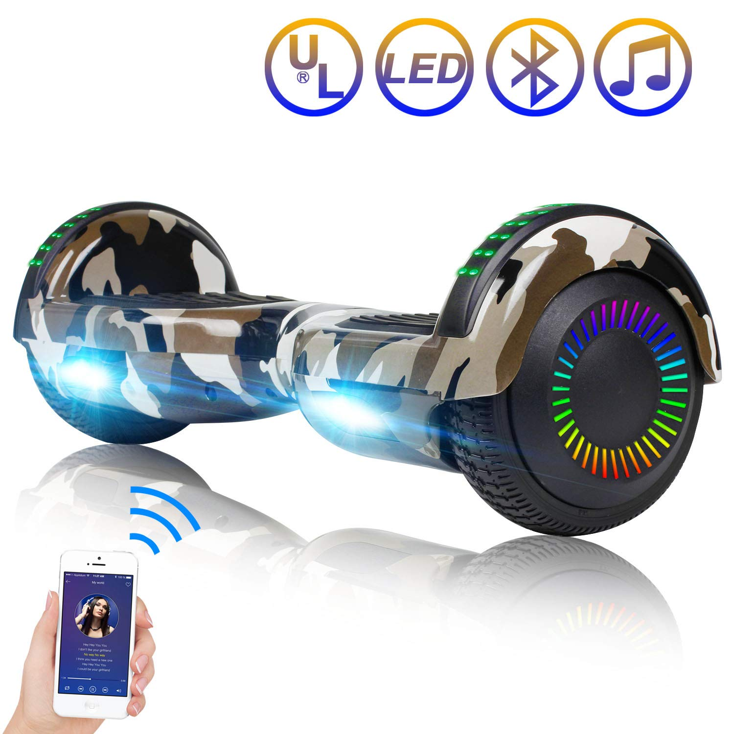 Hoverboard Self Balancing Scooter 6.5'' Two-Wheel Self Balancing Hoverboard with Bluetooth Speaker and LED Lights Electric Scooter for Adult Kids Gift UL 2272 Certified Fun Edition - Desert Camo by SISIGAD (Image #1)